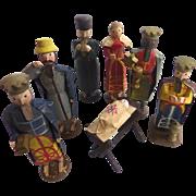 Rare Antique ca1850 GERMAN Erzgebirge Hand Carved PUTZ Toy NATIVITY ~Wise Men, Jesus in Creche Mary, Joseph, Shepard