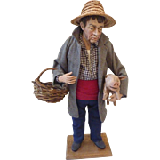 Beautiful French SANTONS de Provence Peasant Man w Pig Clay Doll Figure LISE BERGER