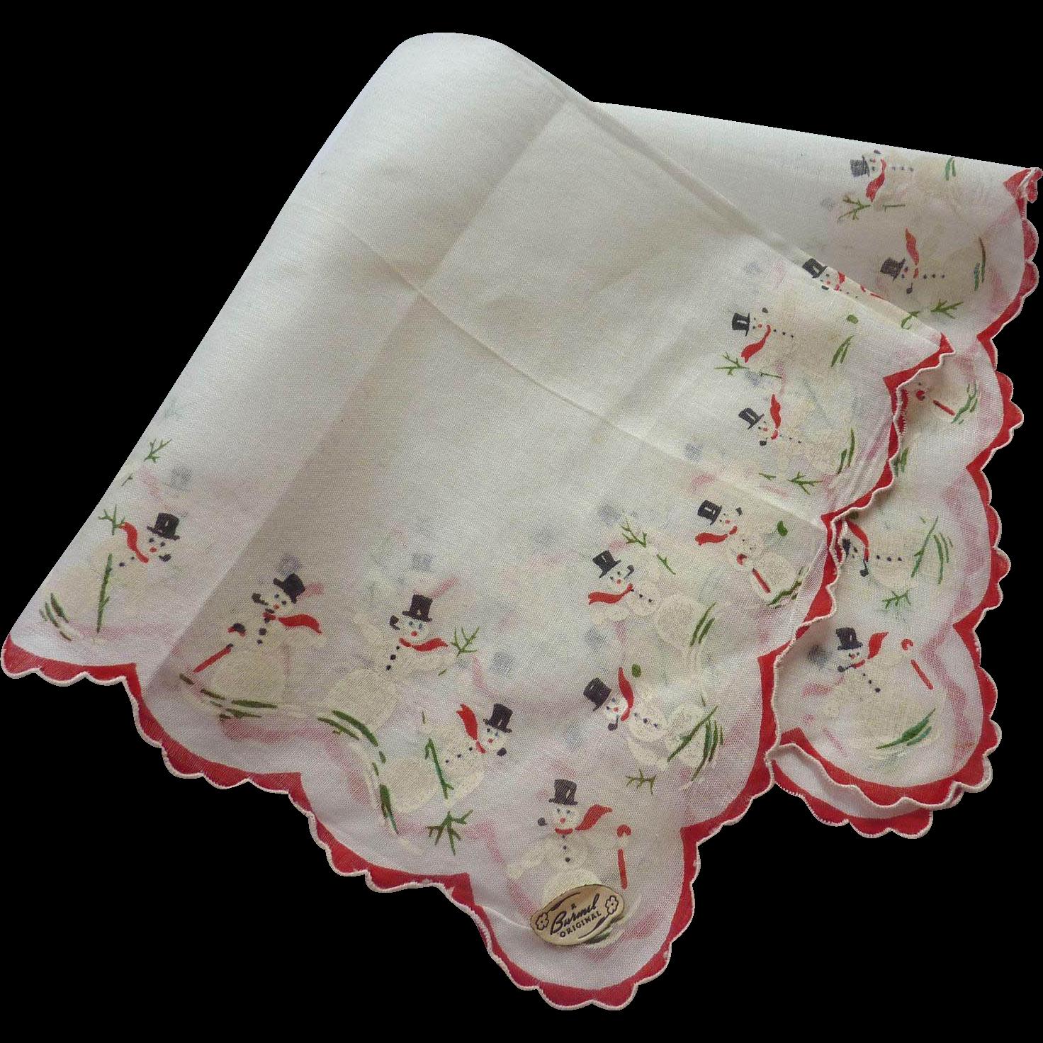 Vintage NWT Burmel Christmas SNOWMAN Handkerchief