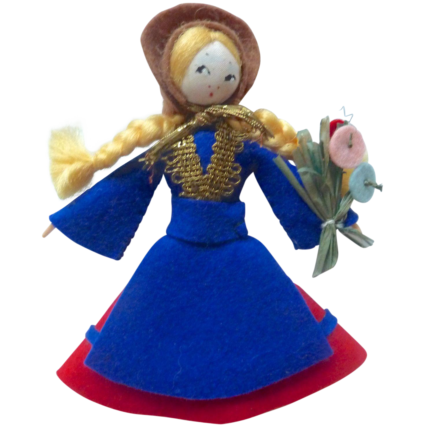 "Charming 1920's-40 Handmade 4"" Felt & Silk Button Doll"
