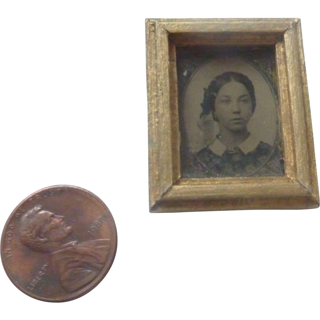 Antique DOLLHOUSE Miniature Gilt Gold FRAMED Lady GEM Tintype Photo ~Ready to hang~