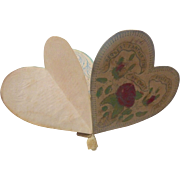 Rare 1840-50's Victorian Valentine HEART Shaped Purse Puzzle Lithograph LOVE TOKEN Booklet~Museum Worthy & perfect for French Fashion Poupee Dolls~