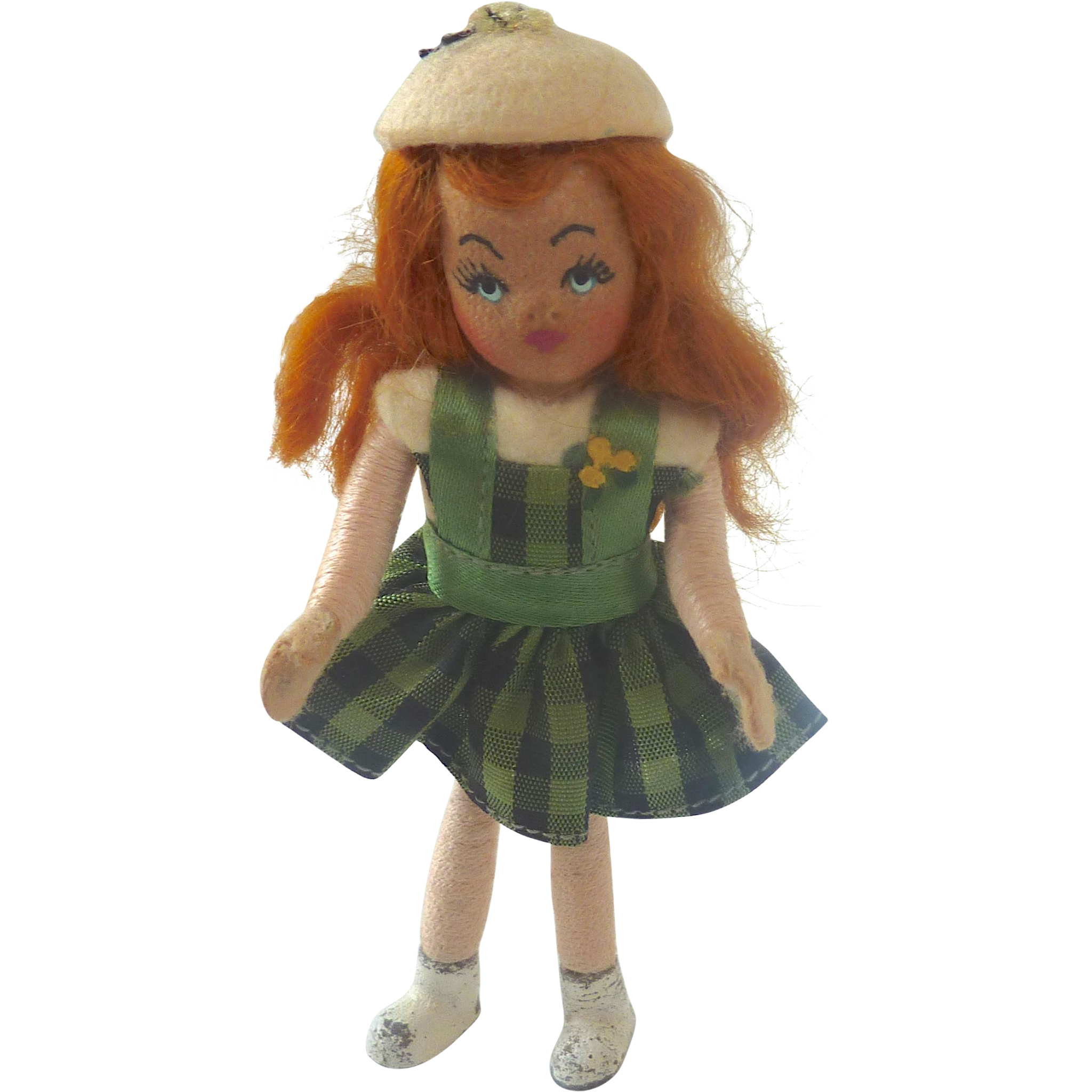 "Vintage Alma LeBlanc 4"" TINY TOWN 'Pat' St. Patty's Day DOLLHOUSE Miniature DOLL"
