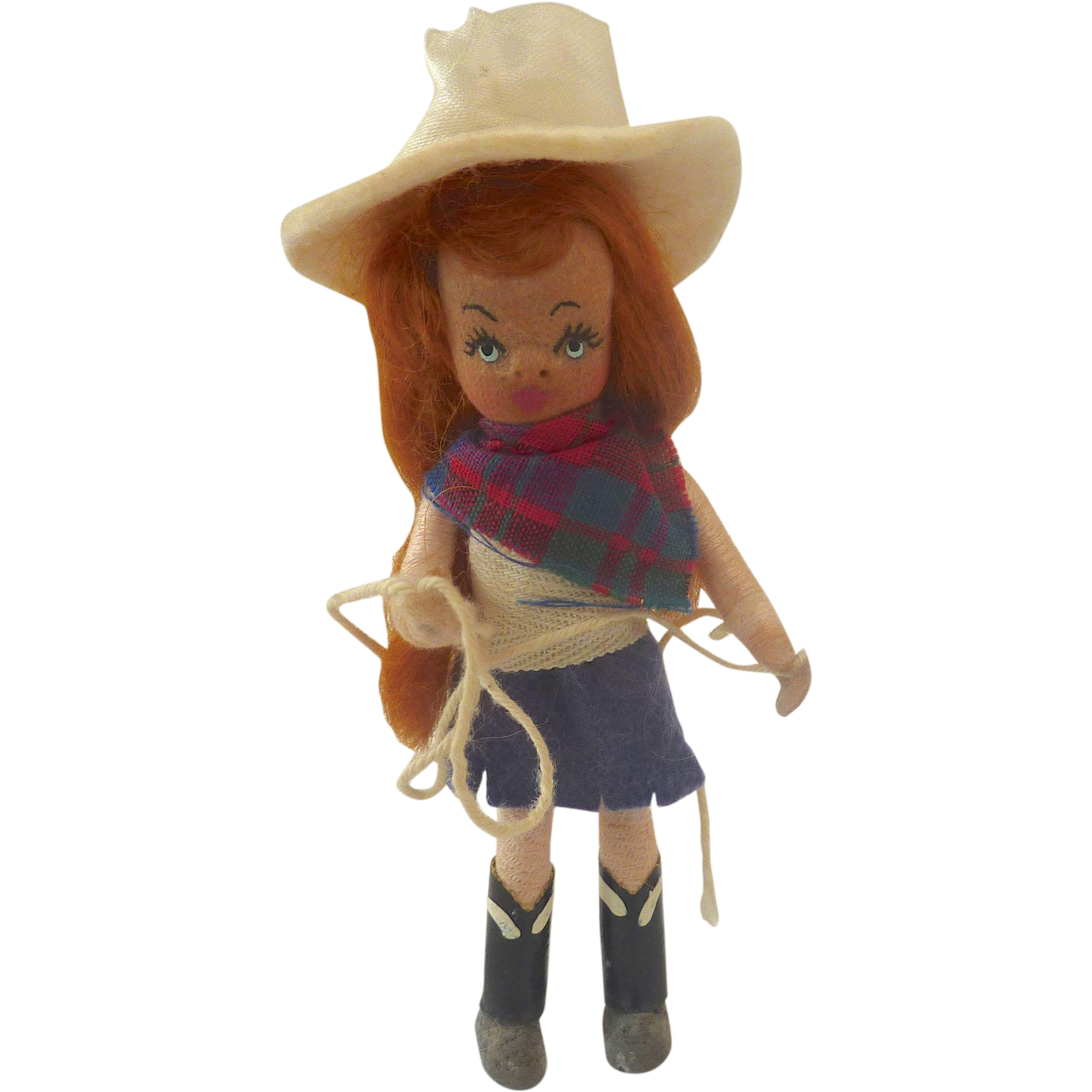 "Vintage Alma LeBlanc 4"" TINY TOWN 'Cowgirl' DOLLHOUSE Doll"