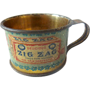 Antique Miniature GERMAN Zig Zag CANDY Tin Advertising Cup CLARK Co.