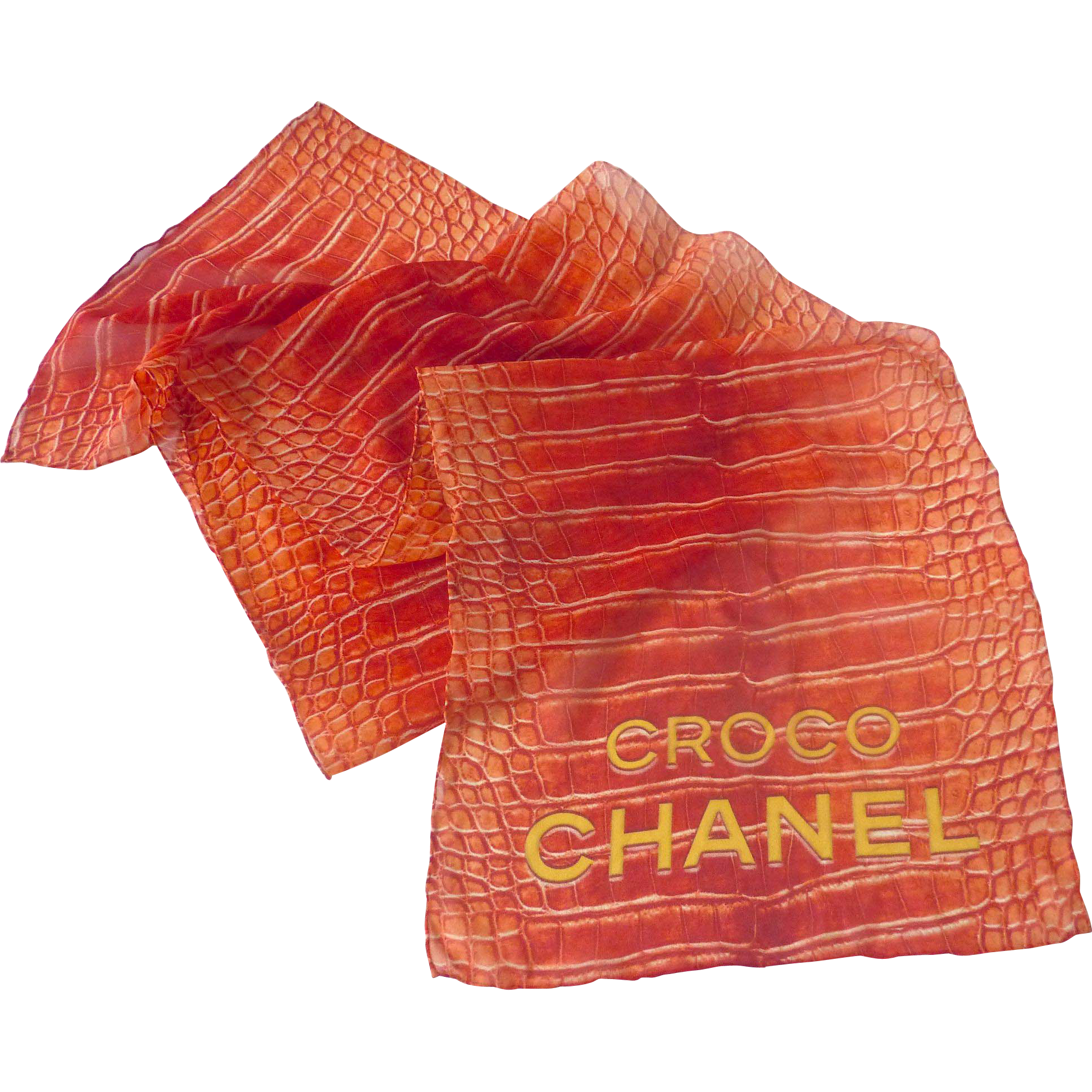 "RARE Vintage CHANEL Red Crocodile Print Silk Chiffon SCARF Stole 12"" x 52"""