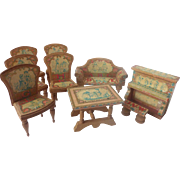 Antique BLISS 9 Piece DOLLHOUSE Miniature Lithograph Living Room PARLOR Furniture ~Alphabet Dutch Design~