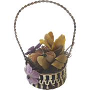 Antique GERMAN DOLL Miniature EASTER Miniature BASKET w Flowers