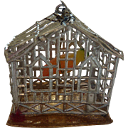 Antique GERMAN Miniature Dollhouse BIRD CAGE w WAX Parrot