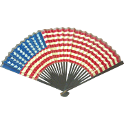 RARE Antique 40 Star 1886 Hand Painted US FLAG Parade Hand FAN