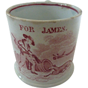 Antique Staffordshire Pearlware 'For JAMES' Children's Christening MUG Cup w Dog