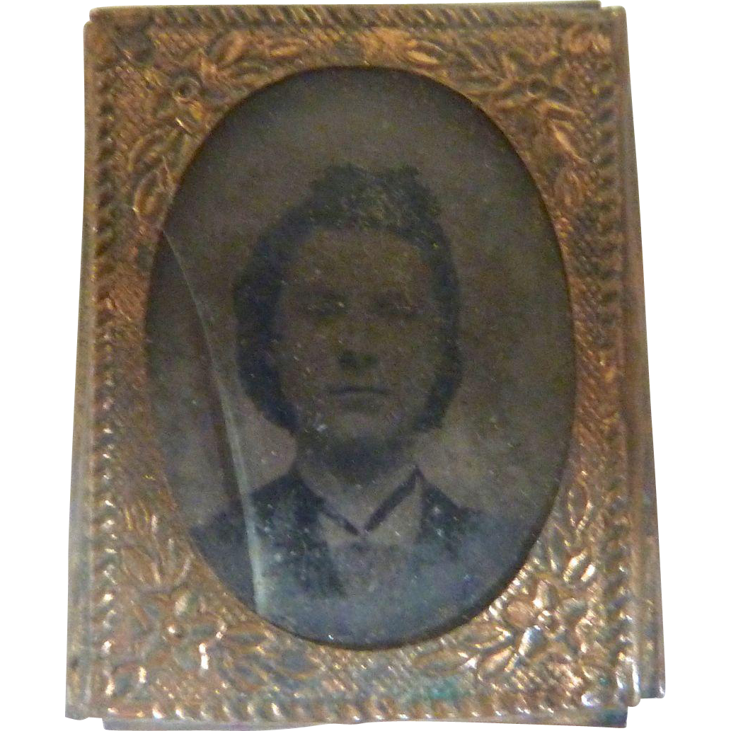 Antique DOLLHOUSE Miniature GEM Girl GOLD Framed Tintype Photo