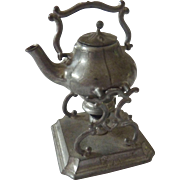 Antique GERMAN Dollhouse Miniature Soft Metal Movable Swinging TEAPOT on Stand