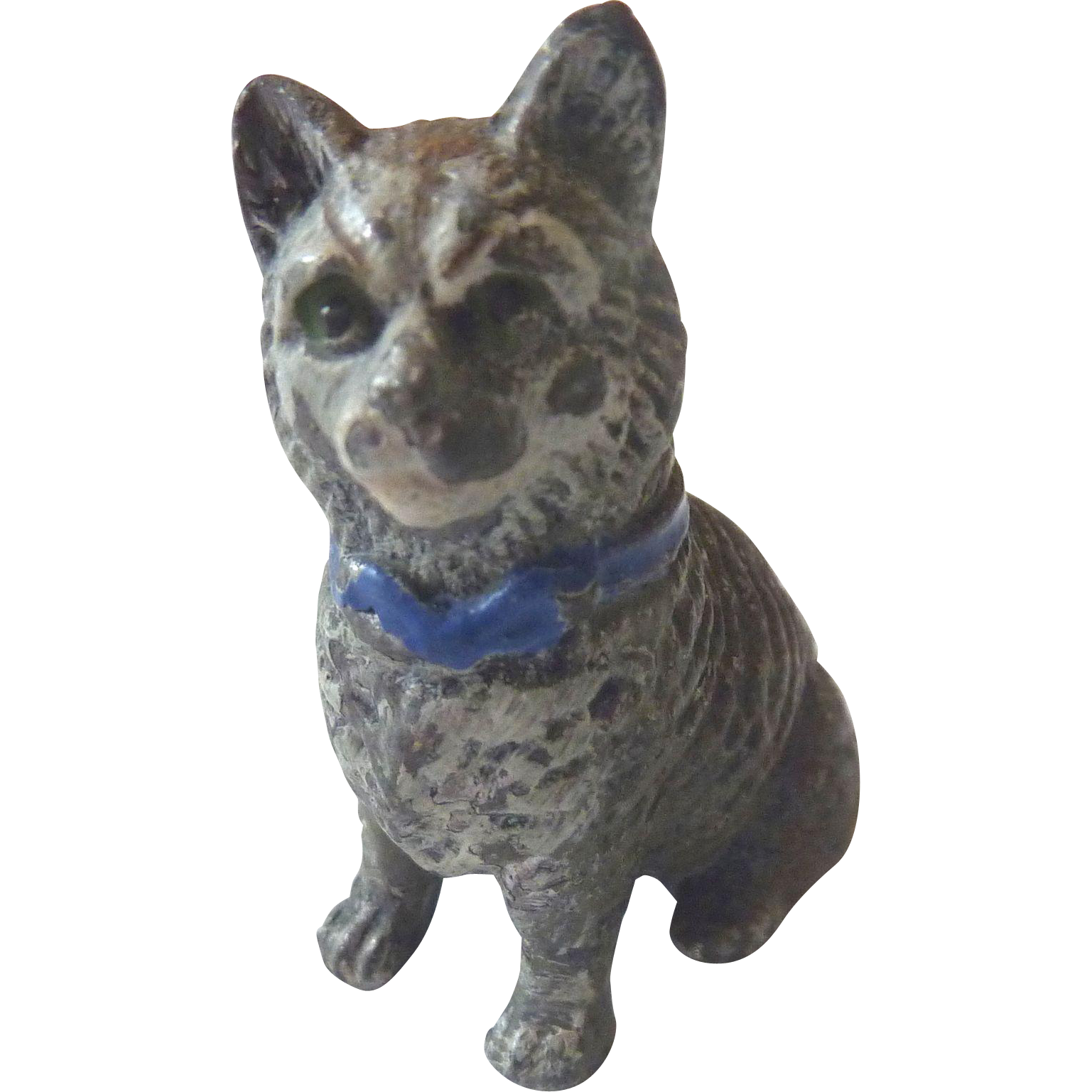 Antique GERMAN Miniature Cold Painted CAT perfect for DOLL HOUSE