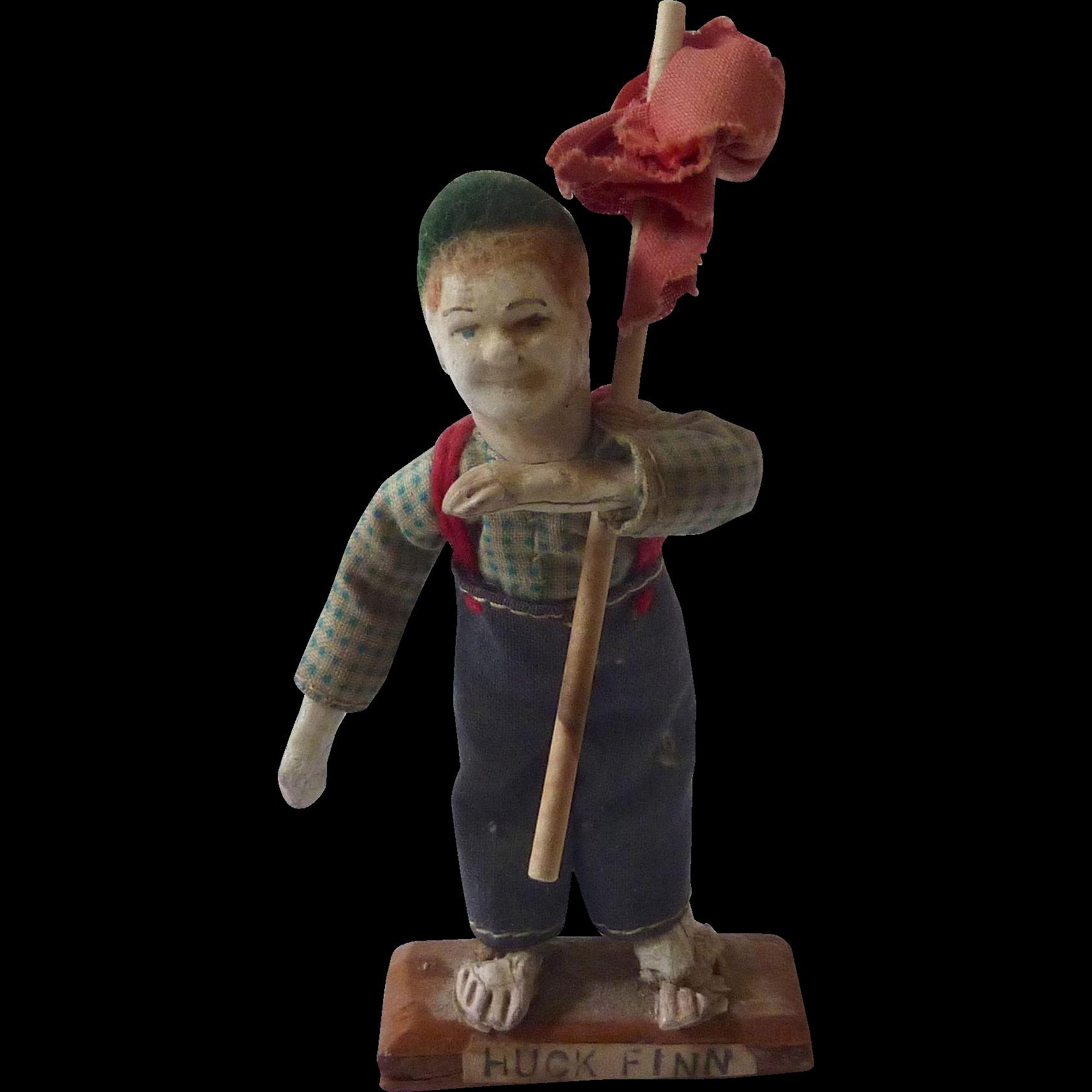 'Huck Finn' Handmade Miniature DOLLHOUSE Doll from Mark Twain Book OOAK Vintage