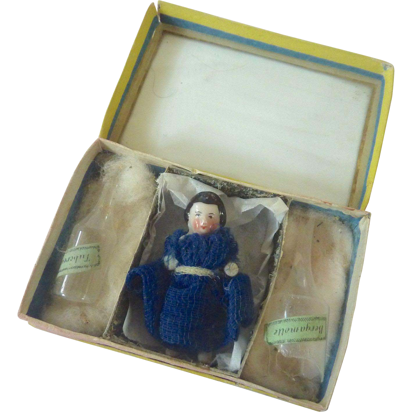 Antique GERMAN Dresden BOX w Dollhouse Miniature China DOLL & Perfume Bottles