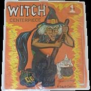 Unused Vintage BEISTLE Halloween WITCH Honeycomb Centerpiece Decoration in Original Packaging Die-cut