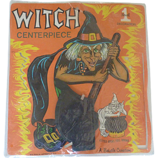 Unused Vintage BEISTLE Halloween WITCH Honeycomb Centerpiece Decoration in Original Packaging Die-cut