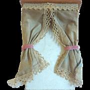 Antique GERMAN Silk Dollhouse Miniature Curtain Cornice Box