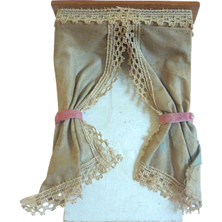 Antique GERMAN Silk Dollhouse Miniature Curtain Cornice Box