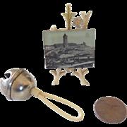 Rare Antique GERMAN Miniature DOLL Sleigh Bell Rattle & Easel FRAMED Photograph