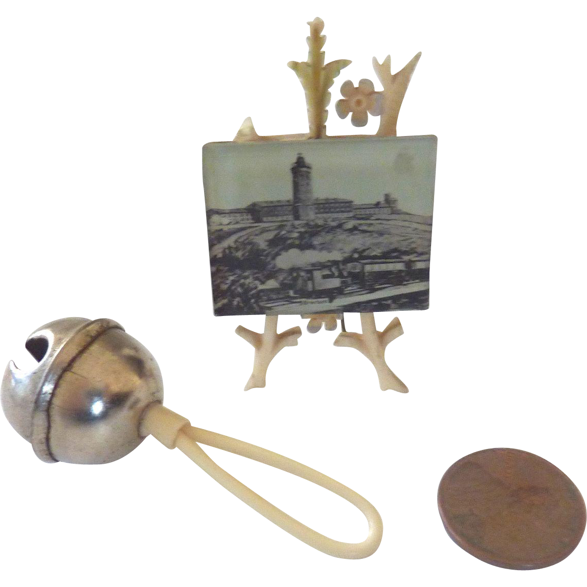 Rare Antique GERMAN Miniature DOLL Sleigh Bell Rattle & Easel FRAMED Photograph