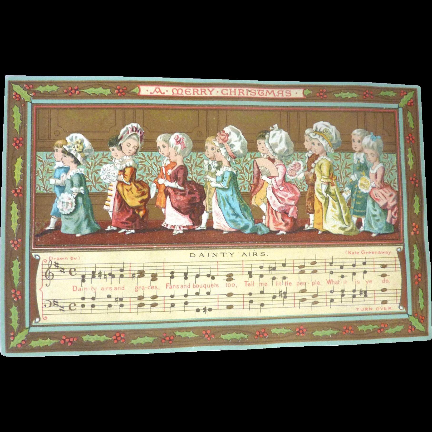 Rare KATE GREENAWAY 1883 'A Merry Christmas' Dainty Airs MARCUS WARD Greeting Card