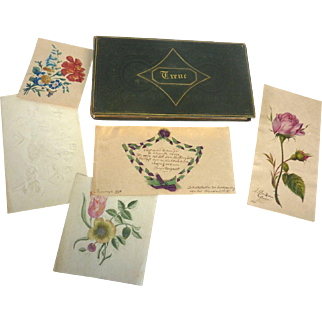 Georgian 1836 GERMAN Amicorum Stammbuch Friendship Album includes PINPRICK, Watercolor EMBROIDERY
