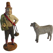 Antique 1800's GERMAN Erzgebirge PUTZ Shepherd for Doll house NATIVITY