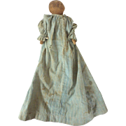 Antique MAINE Farmhouse RAG Cloth Doll w Pencil DrawnFace & Signed WALT w Blue CALICO Dress