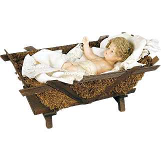 LARGE Antique French Convent Wax Baby  Jesus CHRIST Child NATIVITY Creche w Cradle