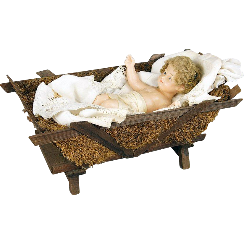 LARGE Antique French Convent Wax Baby Jesus CHRIST Child ...