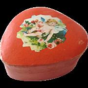 Antique GERMAN Dresden 'To My Valentine' HEART Candy Box
