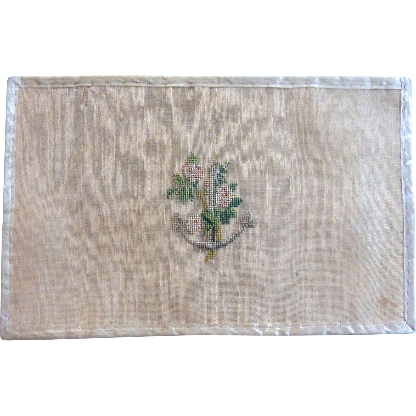 1836 LOVE Valentine Petit point Silk Embroidery Anchor w Roses