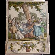 Antique GERMAN 1836 Biedermeier Marriage Congratulation Card