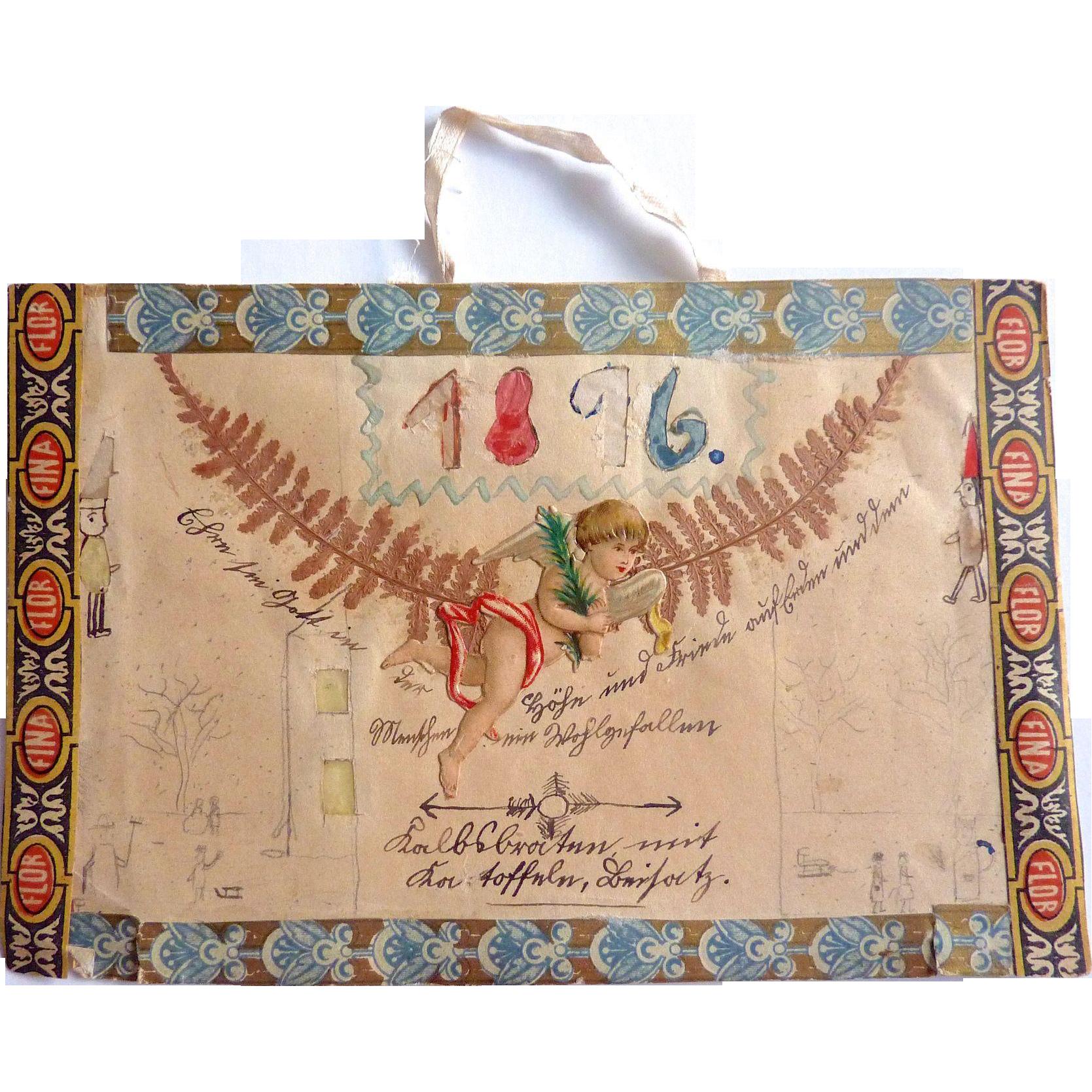 Antique GERMAN 1816 Folk Art Biedermeier Wedding Congratulation Card