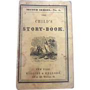 Antique 1856  Miniature CHILD'S STORYBOOK Doll Book w Animals Rabbit Cat Bird