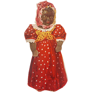 Rare ca 1900 BLACK AMERICANA Die cut PAPER DOLL Standing Advertising Premium Card Atlantic & Pacific Tea