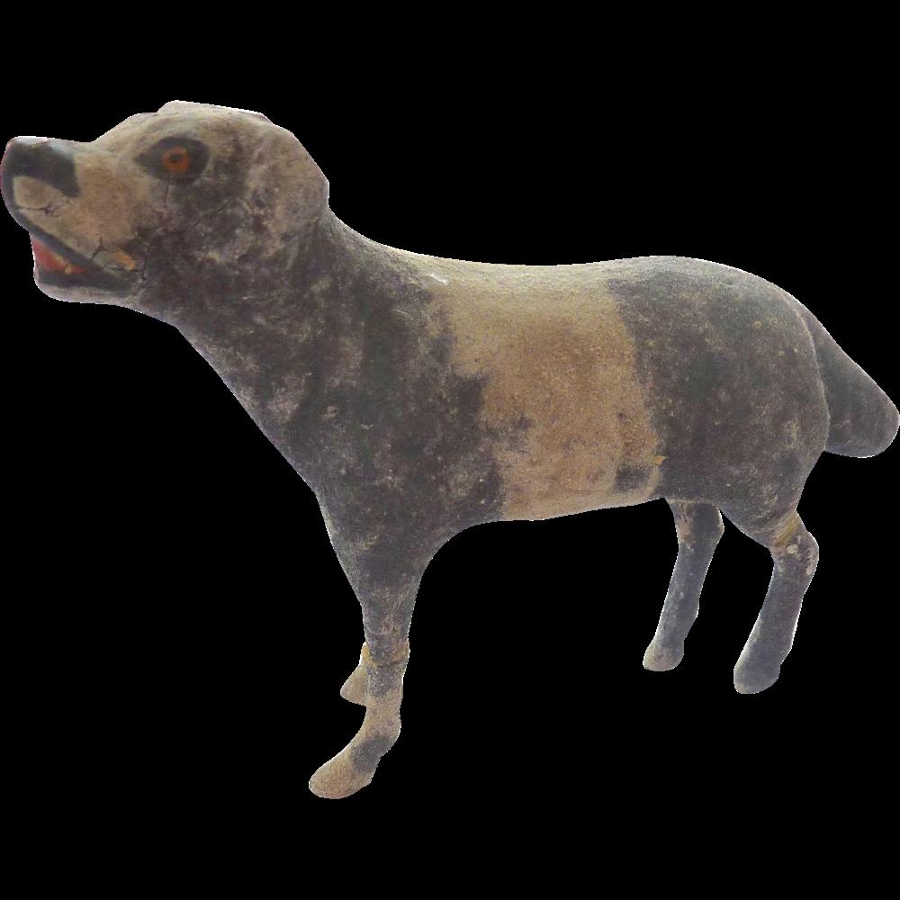 Rare Antique 1880-90 ERZGEBIRGE Putz GERMAN Mass Flocked DOG Hunting DOLL HOUSE ~Museum Quality~