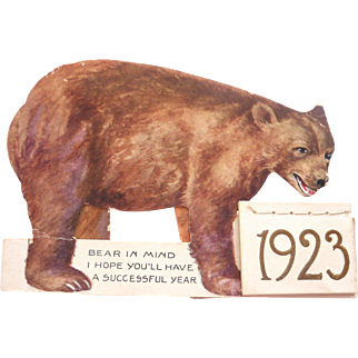 1923 Die Cut TEDDY BEAR Advertising Movable 2 Piece Standing CALENDAR Brunswick MAINE