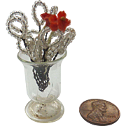 Antique GERMAN Dollhouse Miniature Beaded Flowers in Hand Blown Glass Vase