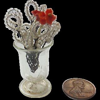 Antique GERMAN Dollhouse Miniature Beaded Flowers in Hand Blown Glass Vase