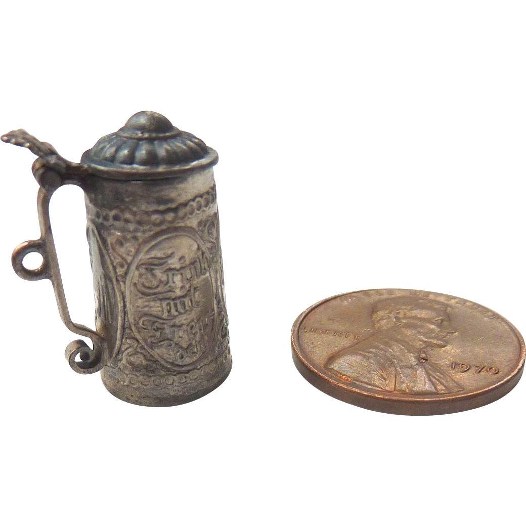 Antique GERMAN Dollhouse Miniature Ornate Silver Stein ~Adele Venus Collection~