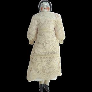 "Sweet Hertwig German DOLLHOUSE China Doll 5.5"" Fabric Body Lace Dress"