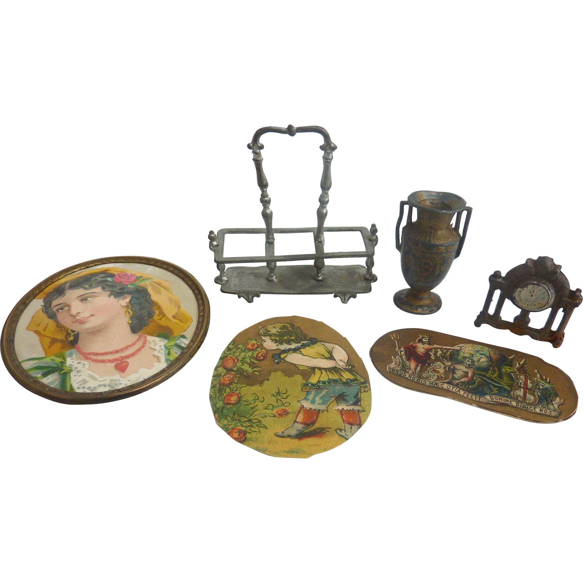 LOT of GERMAN Dollhouse Miniature Items ~Clock, Vase, Cutlery Tray, Pictures~