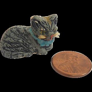 Antique Miniature GERMAN Dollhouse Miniature CAT Composition w Whiskers