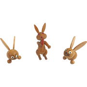 Vintage GERMAN Miniature Erzgebirge Rabbits EASTER