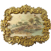 Antique GERMAN Erhard & Sohne DOLL HOUSE Miniature Ormolu FRAMED Lithograph Picture