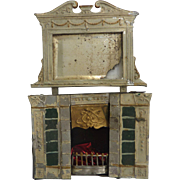 Antique Ornate GERMAN Dollhouse Miniature Fireplace with Beveled Mirror