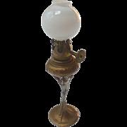 Antique GERMAN DOLL HOUSE Miniature Gilt Soft Metal Gas LAMP w Glass Shade